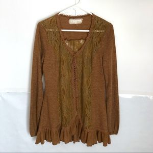 Areve Anthro Brown Lace Ruffle Long Cardigan sz L